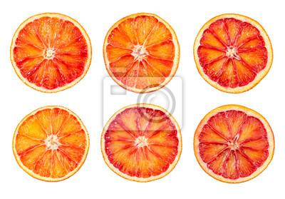 Set of blood red orange slice isolated on white