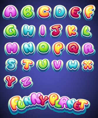 Wall mural Set of cartoon colored letters for decoration of different names