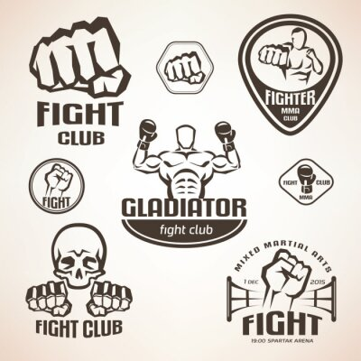 Wall mural Set of fighting club emblems, MMA, boxing labels and bages