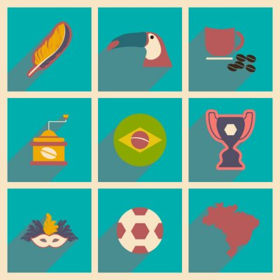 Wall mural Set of flat icons with long shadow Brazil