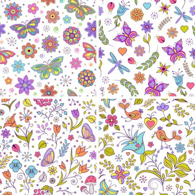 Wall mural Set of floral backgrounds.