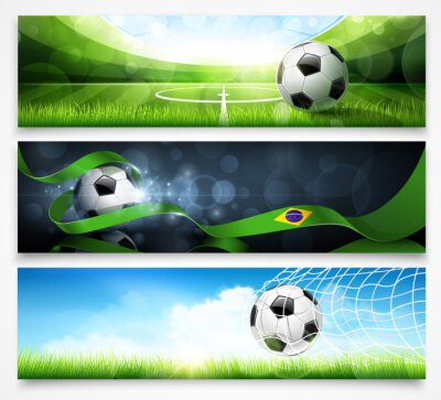 Wall mural Set of football banners. Vector