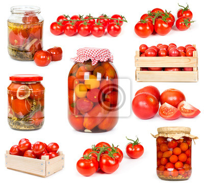 Set of fresh and canned tomatoes