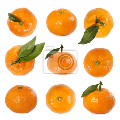 Set of fresh mandarins