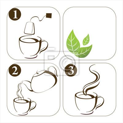 set of icons how to make tea
