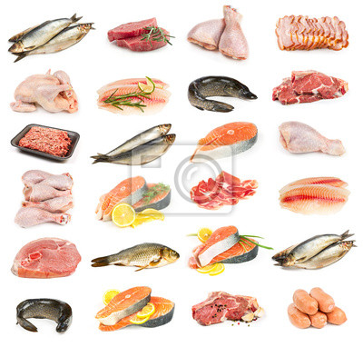 Set of meat, chicken and fish