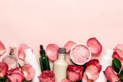 Wall mural Set of natural cosmetics from roses. Beauty and skin care concept