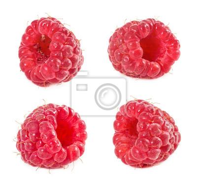 Set of raspberries isolated on white