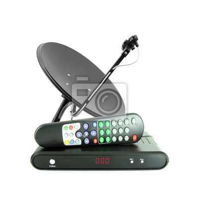 Wall mural Set of receive box remote and dish antenna