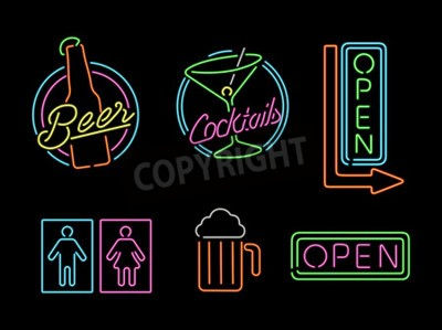 Wall mural Set of retro style neon light outline sign icons for bar, beer, open business, cocktail and bathroom symbol.