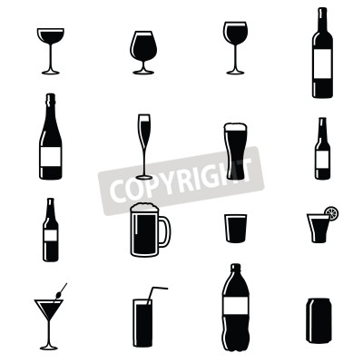 Wall mural Set Of Sixteen Drinks Black   White Silhouette Vector Illustrations
