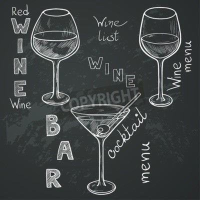Wall mural Set of sketched glasses for red wine, white wine, martini and cocktail on chalkboard background. Hand written letters in vintage style drawn with chalk on blackboard.