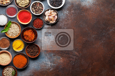 Wall mural Set of various spices and herbs