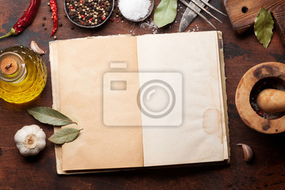 Wall mural Set of various spices and herbs and cookbook