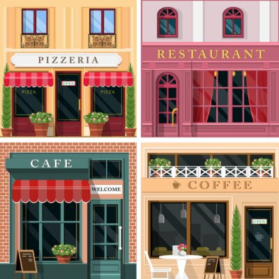 Wall mural Set of vector detailed flat design restaurants and cafes facade icons. Cool graphic exterior design for restaurant business.