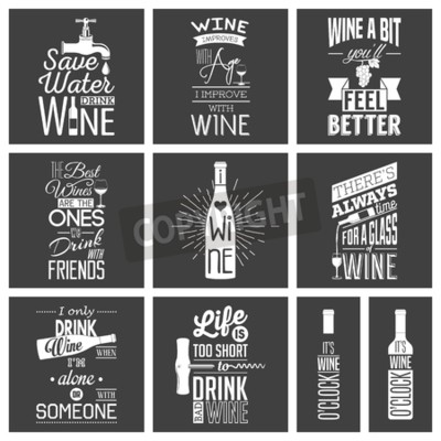 Wall mural Set of vintage wine typographic quotes.