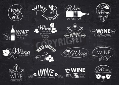 Wall mural Set of wine labels, badges and logos for design over blackboard. Vector illustration.