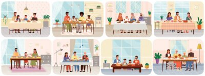 Wall mural Set scenes of people having family dinner in traditional styles of countries of world. Cartoon characters in national costumes taste dishes at home or restaurant. Family gathering around dining table