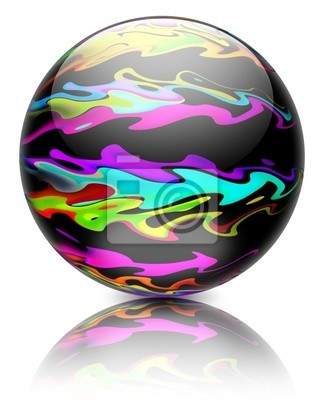 Sfera con Onde Astratte-Black Globe with Abstract Waves