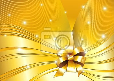 Sfondo Oro Astratto e Fiocco-Golden Waves and Ribbon-Vector