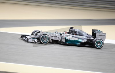 Wall mural SHAKIR, BAHRAIN - APRIL 04: Lewis Hamilton of Mercedes racing during practice session on Friday, April 04, 2014, Formula 1 Gulf Air Bahrain Grand Prix 2014