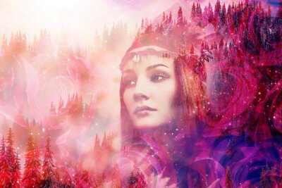 Wall mural Shaman woman in winter landscape, artist collage.