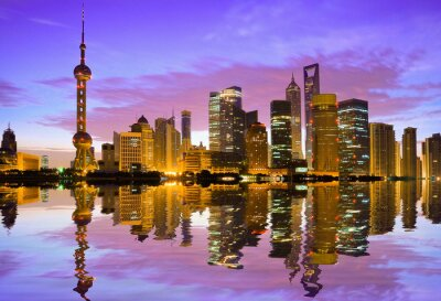 Wall mural Shanghai skyline at dawn