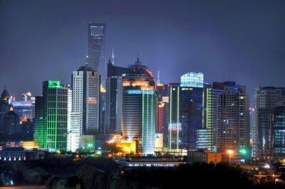 Wall mural Shanghai skyline by night