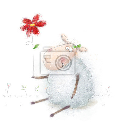 Sheep  with the red flowers.Birthday greeting card.