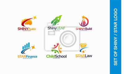 Wall mural Shiny Automotive logo, Shiny Leaf symbol, Shiny Building logo, Star Finance, Child School, Star Law logo designs concept vector