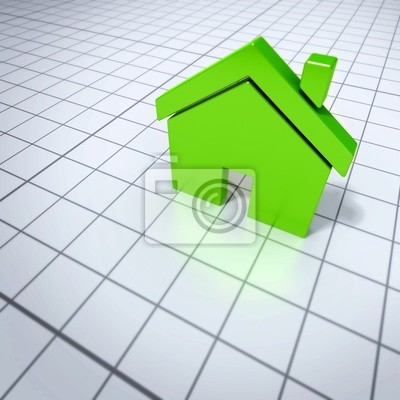 Wall mural shiny green 3d rendered house on a shiny white grid