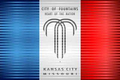 Wall mural Shiny Grunge flag of the Kansas City - Illustration,  Three dimensional flag of Kansas City