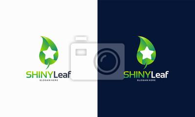 Wall mural Shiny Nature logo, Shiny Leaf logo, Shiny Farm logo, Nature Star symbol template vector illustration
