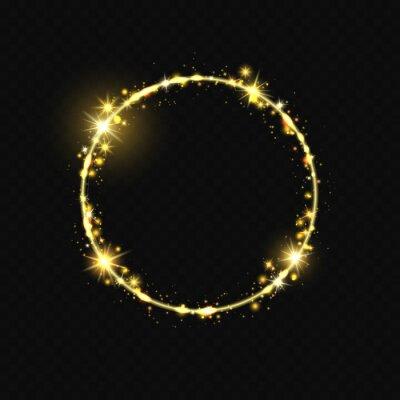Wall mural Shiny round frame. Shiny circle frame, stardust glitter stars trace, round shining magic swirl vector illustration. Shine round glitter, dust glow and shiny
