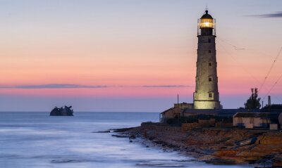 Wall mural ship rack and lighthouse