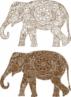 Wall mural silhouette of a elephant in the Indian mehendi patterns