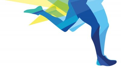 Wall mural Silhouette of a man running legs transparent overlay colors