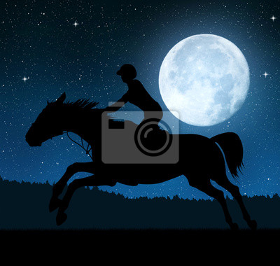 Silhouette of a rider on a running horse in night