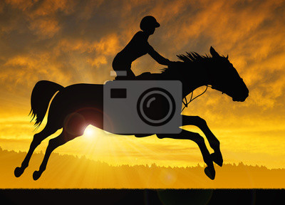 silhouette of a rider on a running horse in the sunset