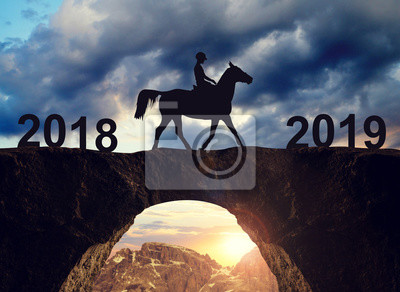 Silhouette of horse rider riding across the bridge to the New Year 2019.