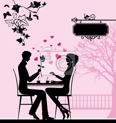 Silhouette of the couple in the cafe.