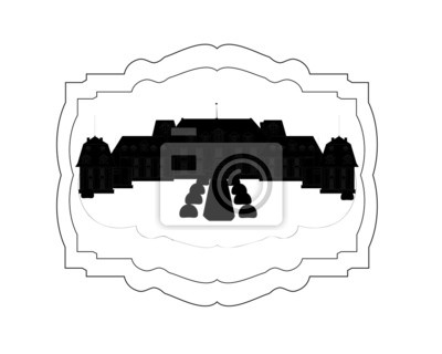 Silhouette of the old lock on a black background vector