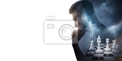 Silhouette of thinking man and chess pieces isolated on white background. Chess game, intelligence, intellect, brain, reason and mind background. The concept on business, strategy, success topics.