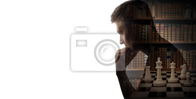 Silhouette of thinking man, book and chess pieces isolated on white background. Chess game, history, intelligence, intellect, brain, reason and mind background.