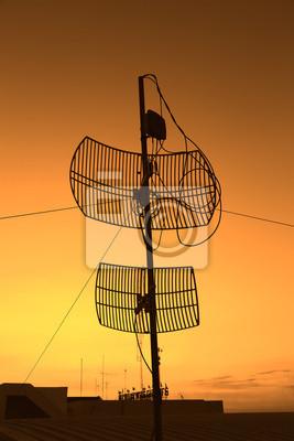 silhouette satellite communication antenna