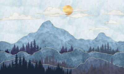 Wall mural Silhouettes of mountains with trees. Abstraction of textured plaster with gold elements. Mural, mural, Wallpapers for interior printing