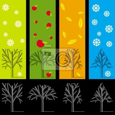 Silhouettes of trees during different seasons