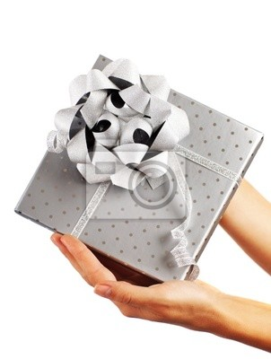 Wall mural Silver gift box with hands