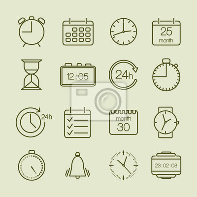 Wall mural simple time and calendar icons