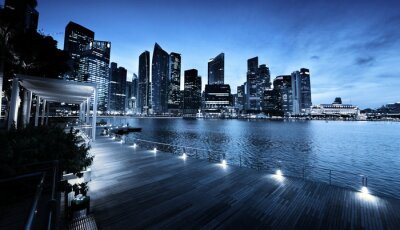 Wall mural Singapore city in sunset time